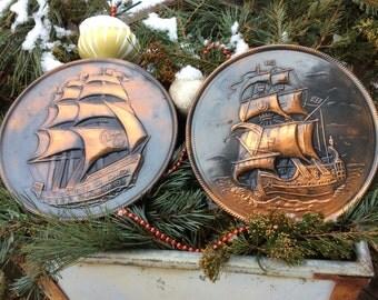 Copper Sailing Ships Round Wall Decor Elpec England.