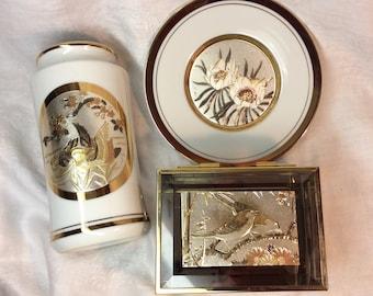 Vintage Chokin Trinket Chokin Vase Chokin Plate Lot of 3 Mirrored Box