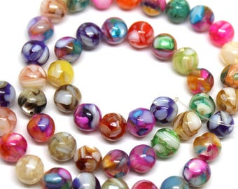 8 mm Mixed Color Mother of Pearl and Resin Beads