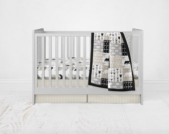 Neutral Crib Bedding Set - Woodland Adventure Black, Grey, & Tan Patchwork Wholecloth Crib Quilt Stag Deer Bear Fitted Sheet Crib Skirt