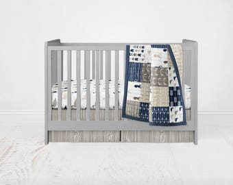 Woodland Navy Duck & Buck Crib Bedding Set - Woodland Deer and Duck Patchwork Wholecloth Crib Quilt Fitted Sheet Crib Skirt