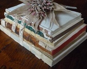 Antique Book Bundle, French Book Stack, Shabby Vintage Books, Boho Wedding Decor, Paper Crafts, DIY Supply, Wedding Table, Decorative Books