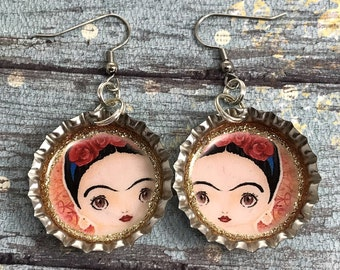 Frida Kahlo, Frida Jewelry, Frida Earrings, Frida Drawing, Bottle Cap Earrings, Mexican Jewelry, Frida Bottle Cap, Viva Frida