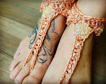 ON SALE Peach Barefoot Sandals- Foot Jewelry- Footless Sandals- Barefoot Wedding Sandal- Beach Wedding- Bridesmaid gift- Gift for her