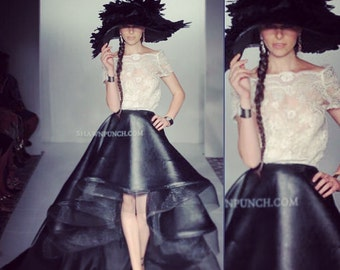 Irina Shabayeva Leather high low hem ball skirt (veg leather).