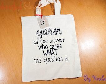 Mini tote bag - Yarn is the answer