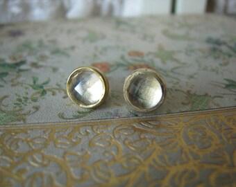 Vintage Gold Plated Vermeil Sterling Silver Citrine Gemstone Stud Earrings