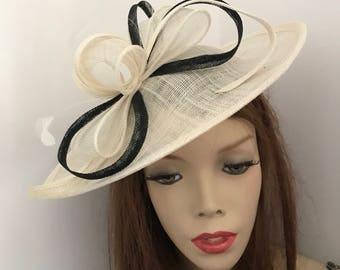 Hatinator Fascinator Hat ivory Cream Black Saucer headpiece with Feathers on hairband, Wedding Hat, Hat for the races, Mother of the bride