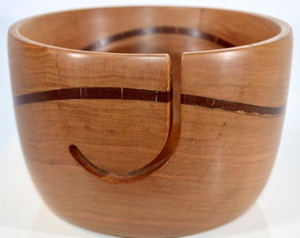 968 Yarn bowl, made from Cherry with a Bloodwood wave
