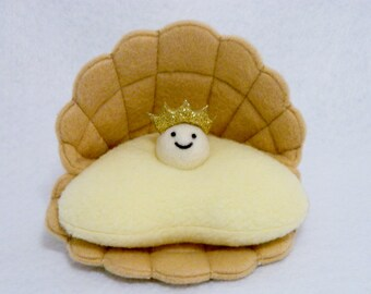 Pearl oyster clam plush toy with gold crown