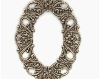 Dramatic Oxidized Brass Stamping Framework, Outside Measures 58x33mm, Center Opening 35x30mm