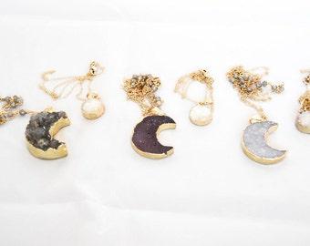 Druzy Moon Gold Pendant, Brazilian Druzy, Crescent Moon Pendant, Gold Pendant Necklace, Necklace Set