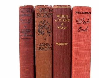Red Tones Vintage Books/Book Decor/Old Books/Instant Library/Book Bundle/Photo Prop/Wedding Decor/Home Decor/Deorative Books/Cottage Chic