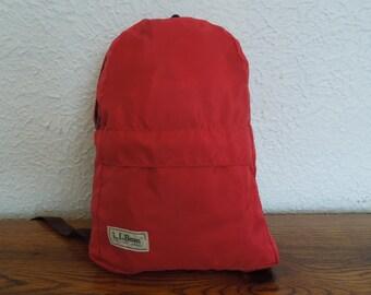 Vintage LL Bean Nylon Children's Backpack Knapsack 70's Red