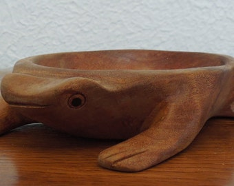 Vintage Hand Carved Wood Frog Bowl