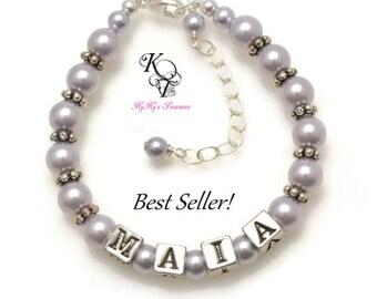 Personalized Baby Bracelet, Baptism Gift, Keepsake Bracelet, Baby Gift, Little Girl Bracelet, Little Girl Jewelry, Personalized Baby Gift