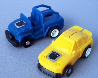 Vintage G1 Transformers Mini Spy Blue Jeep & Yellow Car Mini Spy Both in Working Condition