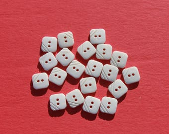 """Vintage Small Square White Plastic Buttons, Doll Clothes Craft Sewing, 1/4"""" Lot of 20 Buttons"""