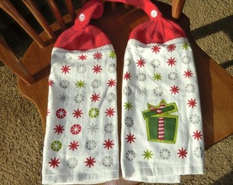 Christmas - Present, Red & White Stars  Knit Top Kitchen Towels