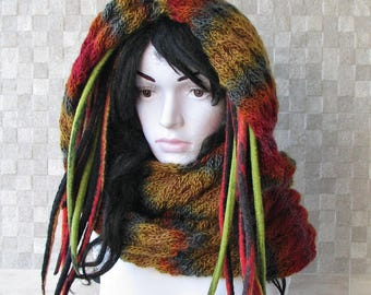Hand Knitted Scarf, Cowl, mens snood, Dreadlock Accessories, Hat For Dreads,