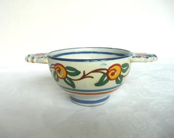 Hand painted French bowl - vintage cafe au lait bowl - yellow and green French coffee bowl - rustic French coffee bowl
