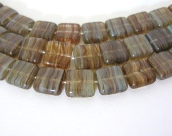 9mm Square Brown Blue Czech Beads Hurricane Glass Pistachio Mocha 25pcs