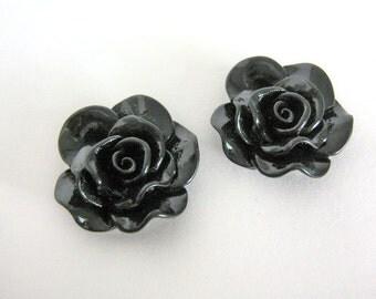 Black 30mm Rose Flower Cabochon Resin Cab Kawaii 6pcs