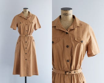 1970s Dress - Vintage 70s Caramel Brown Shirt Dress - Panela Dress
