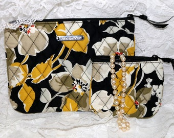 Vera Bradley Make-Up Bags  - Black Yellow Green Grey  - Retired Pattern - Dogwood