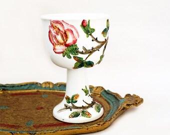Antique Italian Majolica Vase,Flowers Roses Hand painted Planter Vase ,Floral Pedestal Vase 3d Texture