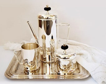 SALE Vintage Silver Plated Coffee Service Set of 4 Piece,vintage silver plate tableware .