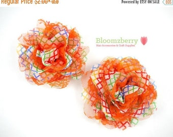 """Closed Out Sale 40% OFF 3.75"""" Chiffon  Mesh Flowers - Rainbow Quatrefoil Color - Chiffon Flowers -Quatrefoil Chiffon Mesh Flowers"""
