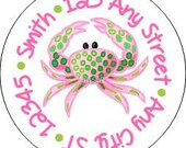 Tropical Crab Round Address Labels Stickers for use as Gift Tags, Party Favors, Address Labels & Class Parties