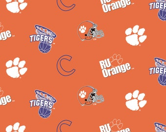 Licensed NCAA Clemson Tigers All Over Logo Fleece Fabric 60'' Wide Sold By The Yard