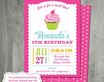 Cupcake Invitation, Birthday Party Printable, Printing Available, Girl Party, Digital File, Cupcake Decorating, Baking Party, Custom