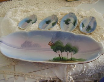 Vintage Porcelain Snack Dish/ Set