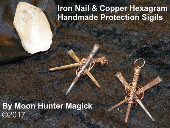 The Original Hand Wrapped Iron Nail Hexagram Protection Sigil Protection Charm Symbol Ward Ornament
