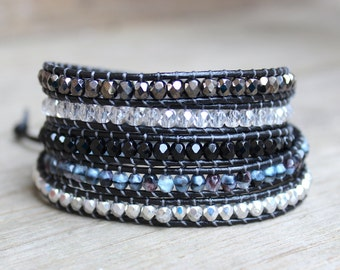 Beaded Leather Wrap Bracelet 5 Wrap with Black Silver and Gray Toned Czech Glass Beads on Genuine Black Leather