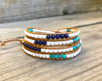 Beaded Leather Wrap Bracelet 4 Wrap with White Turquoise and Navy Blue Beads on Natural Leather