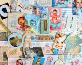 Baby Boy Inspiration Kit*Blue Baby Boy Paper Ephemera Pack*Scrapbooking, Collage, Journals, Cards Supplies