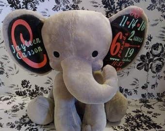 Birth Announcement Elephant, Birth Stat Elephant, Keepsake Elephant, Baby Keepsake, New Baby Gift, Personalized Elephant, Baby Shower