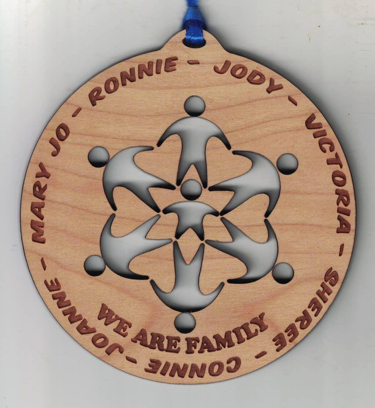 One Laser Engraved Cherry wood custom christmas ornament New