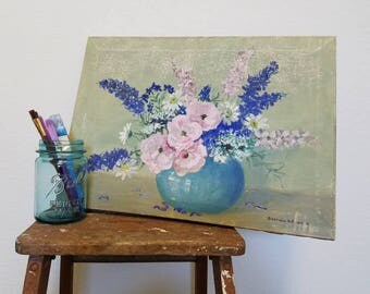 flowers by Georgia - vintage oil painting of vase of flowers, canvas, signed foral painting, 13.5 X 18.5 inches, est. 1940s