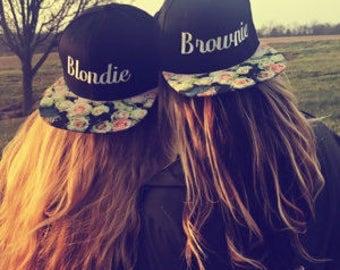 Blondie and Brownie Snapback Floral White Rose Best Friends Strap back Flower Flat Bill Black Hat Blonde Brunette