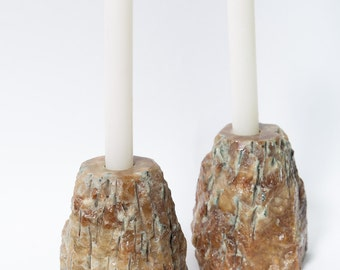 Alabaster Candleholders Candle Stick Rough Hewn Italian Marble 1970s