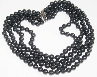 """VINTAGE Multi 4 Strand Black Glass Pearl 16""""-19"""" Hand Knot Bead Sterling Silver Choker Necklace Edwardian Victorian Mourning Gothic Jewelry"""