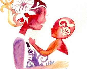 Babywearing watercolor painting, mother and child painting, motherhood wall decor