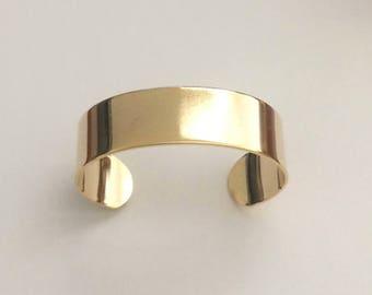 """2 Gold Cuff, 3/4"""" wide, Wide Cuff, Bracelet, Bangle"""