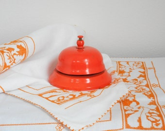 Vintage orange metal shop bell, call bell, desk bell