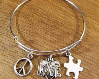 Peace Sign, LOVE Heart and Autism puzzle piece Silvertone Expandable Charm Bracelet